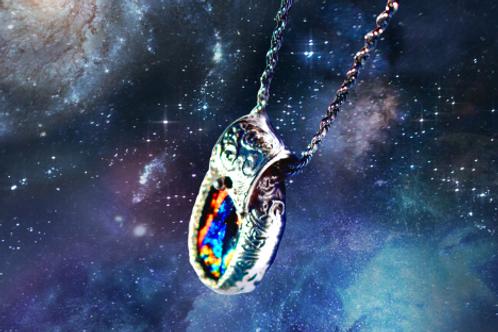 handmade silver metal clay pendant
