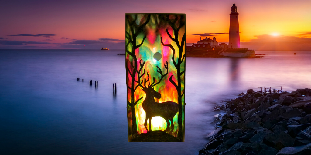 stag stained glass lamp sue donnellan
