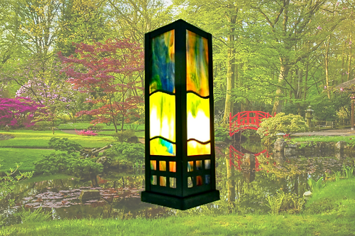 oriental stained glass art lamp by Sue Donnellan