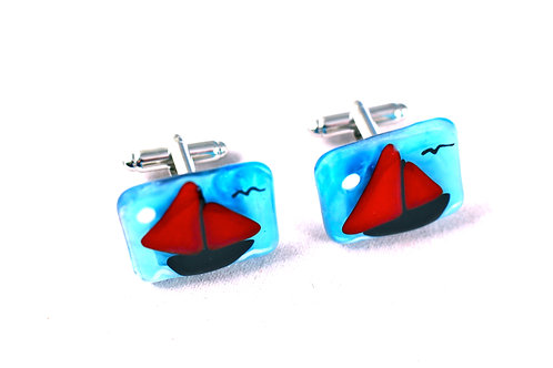 glass boat cufflinks galway hooker made in spiddal galway ireland