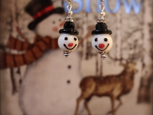 snowman glass earrings made in spiddal craft village christmas gifts