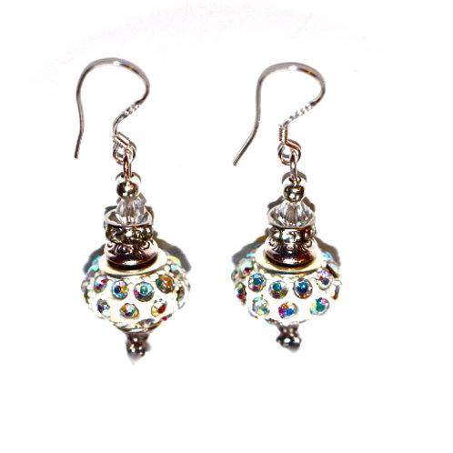 Bling glass gem bead earrings
