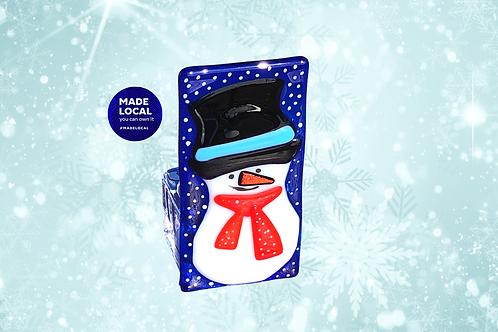 handmade Christmas snowman tea light holder and candle holder