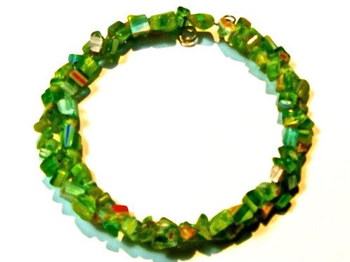 Green wrap around glass bracelet
