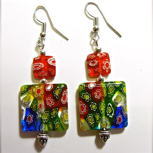 Melli RED Square Glass Earrings