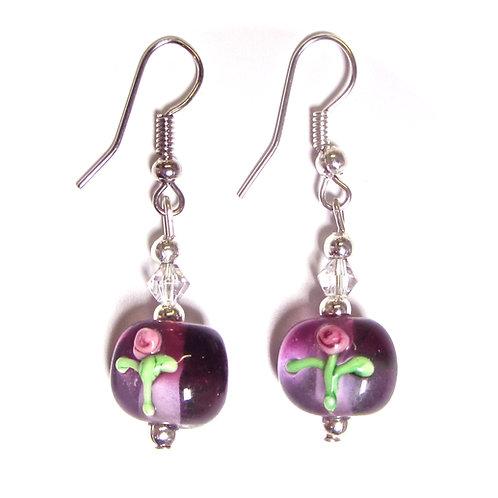 Rose Flower Glass Earrings