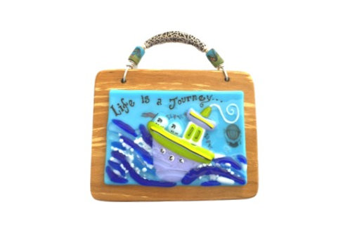 life is a journey tug boat fused glass on wood wall art