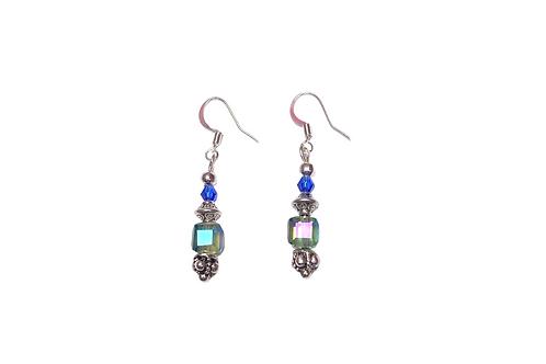 glass earring handmade sterling silver hooks