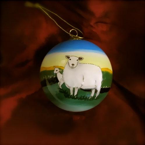Connemara Sheep Glass Bauble