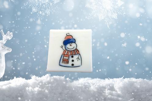 handmade snowman glass coaster for christmas gift