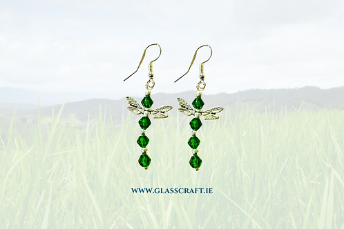 handmade dragonfly earrings with green crystal beads