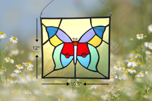 stained glass butterfly panel sun catcher