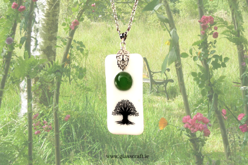 unique celtic glass jewellery pendant with chain handmade