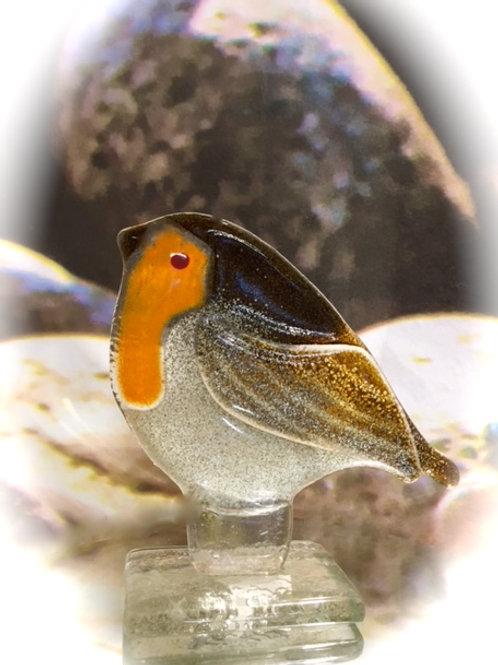 kiln fused glass christmas robin