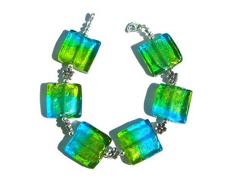 Aqua Blue / Green Square Glass Bracelet