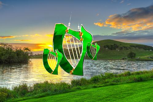 handmade Stained glass Irish harps