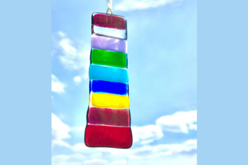 fused glass rainbow colours sun catcher