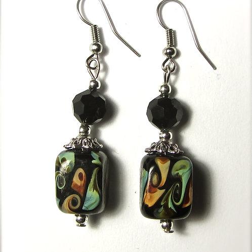 Black Lava Glass Earrings