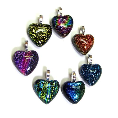 small heart dichroic handmade glass pendant