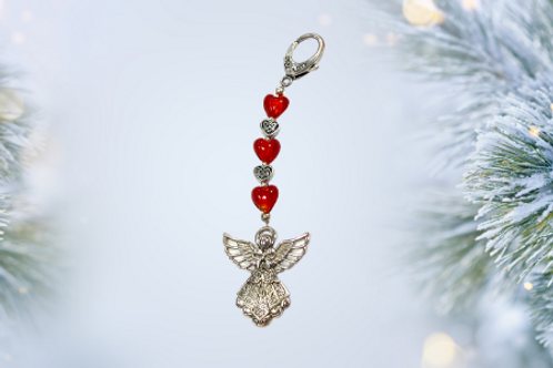 christmas angel with red hearts