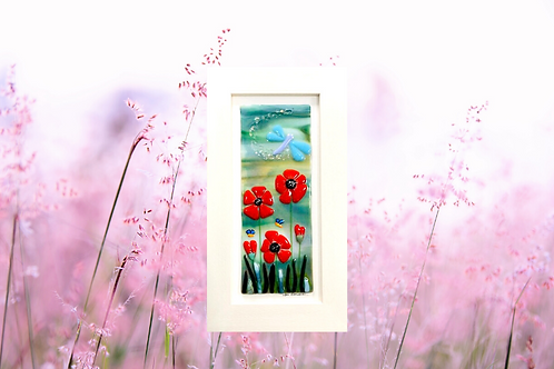 fused glass poppies in a cream frame unique gifts handmade