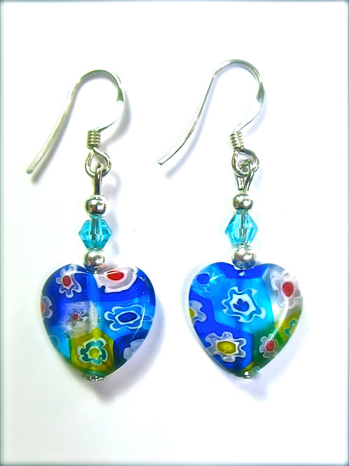 Glass Heart Flower Earrings
