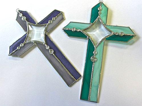 handmade Celtic stained glass cross