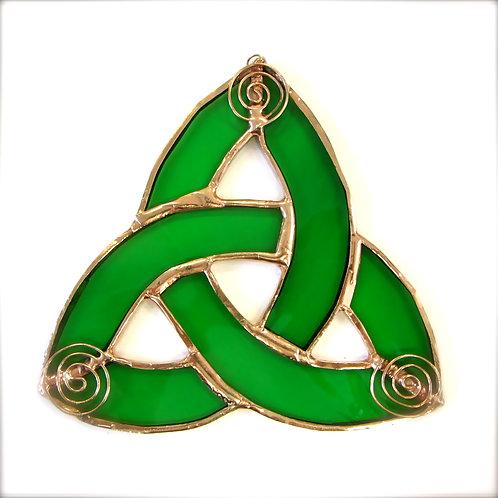 Copper celtic spiral trinity knot