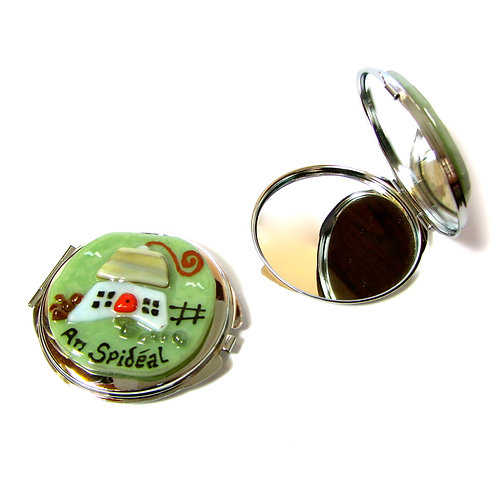 Kiln Fused Compact Mirror-Cottage