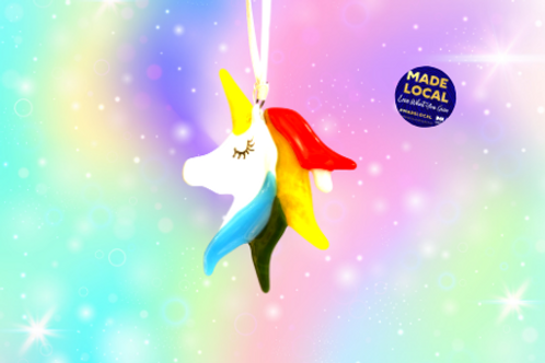unicorn handmade glass hanging ornament for kids