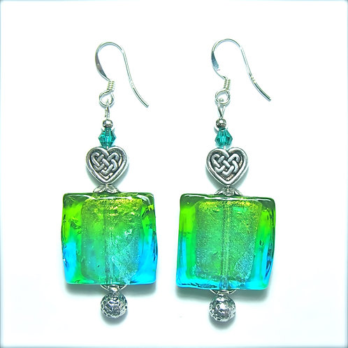Celtic Heart Square Glass Earrings