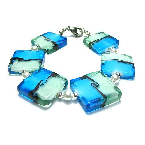Square Aqua Blue Bracelet