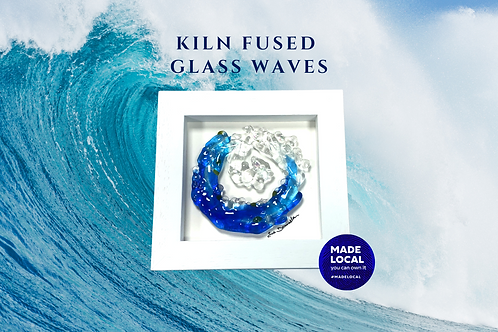 handmade fused glass wave unique gift