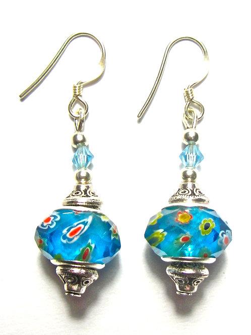 Sea Blue Cut Glass Earrings