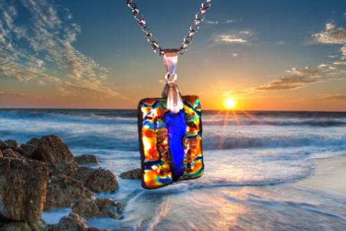 unique fused glass pendant handmade