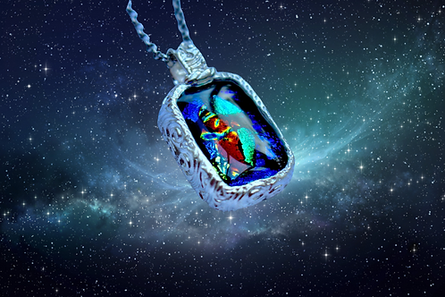 silver metal clay dichroic glass fused pendant
