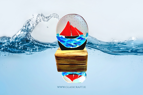 galway boat glass snow globe on wooden base
