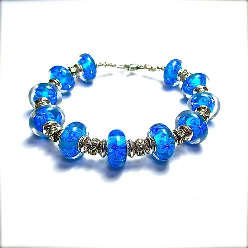 Blue Flower Glass Bead Bracelet
