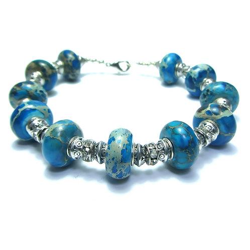 Blue Agate Bead Bracelet