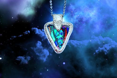 celtic silver glass pendant