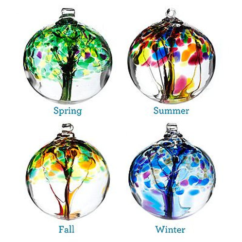 tree of life hanging glass bauble winter spring summer autumn