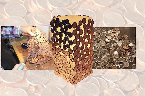 coin lamp handmade by Sue Donnellan