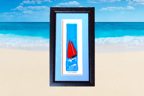 Galway hooker boat fused glass frame for wall