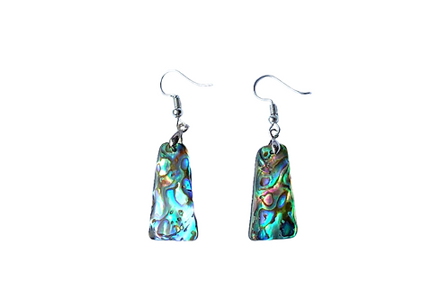 Blue Green Abalone Shell Earrings, Paua Abalone Sea Shell Dangle Drop Earrings