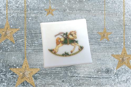 handmade fused glass coaster or tile rocking horse christmas gift