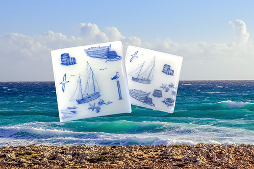 coastal theme glass coasters with boats and ships handmade