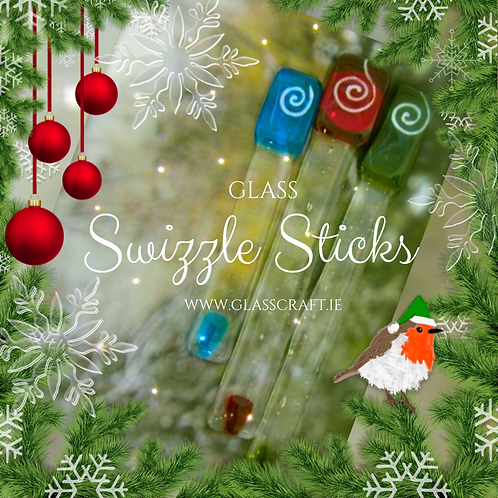 fused glass gin cocktail swizzle sticks drink stirrer handmade gifts