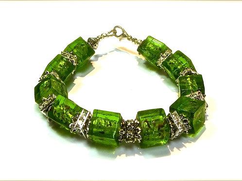 Green Square Glass Bracelet
