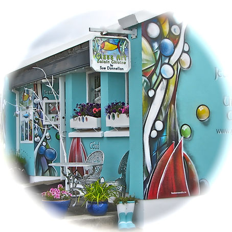 Spiddal Craft Village, Sue Donnellan, Handmade Gifts, Handcrafted Gifts, Unique Glass Gifts, Stained Glass Lamps, Stained Glass Lamp Maker, Stained Glass Lights, Stained Glass Artist Galway, Fused Glass Galway, Fused Glass Ireland, Fused Glass Artist Spiddal, Nollaig Shona Gifts, Glass Candle Holders, Stained Glass Candle Holders, Glass Bracelets, Glass Designer, Glass Maker, Framed Glass, Fairy Doors Galway, Glass Fairy Doors, Silver Metal Clay Jewellery, Dichroic Glass Jewellery, Handmade Pendants, Celtic Glass Earrings, Handcrafted Glass Jewellery, Celtic Jewellery Galway, Celtic Glass Knot, Celtic Trinity Knot, Fused Glass Pendants, Fused Glass Necklace, Fused Glass Jewellery, Glass With Silver, , Award Winning Glass Artist, Award Winner, Connemara Glass, Connemara Fused Glass, Connemara Glass Art, Connemara Coloured Glass, Connemara Stained Glass, Galway Hooker Glass Boats, Connemara Boats, Glass Trophies, Glass Sun Catchers, Glass Harp, Glass Coasters, Glass Wall Lamps,
