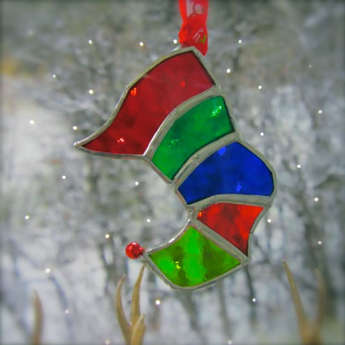 handmade hanging stained glass christmas stocking with bell